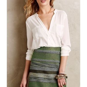 Anthropologie Maeve White Eva Wrap Blouse Size 12